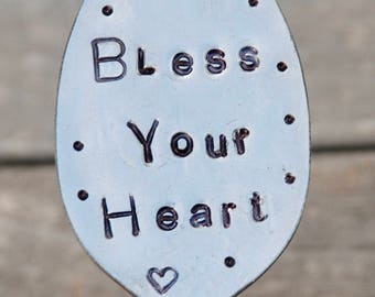 BLESS YOUR HEART // Garden Marker plant stake // Recycled Spoon