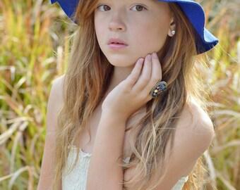 Blue girls floppy hat - floppy sun hat - floppy hat - hat - felt hat - sun hat - womens hat - felt sun hat - blue womens hat
