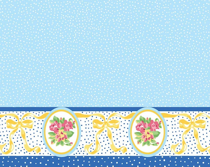 Mae Flowers Fabric by Lindsay Wilkes from The Cottage Mama for Riley Blake Designs and Penny Rose Fabrics - Blue Border