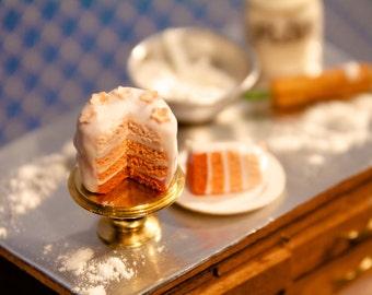 Dollhouse Miniature Food - Apricot Ombré Cake