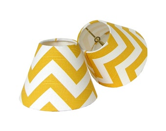 Chandelier Shade Sconce Clip-On Lamp Shade Lampshade Premier Prints Zig Zag Yellow Made to Order