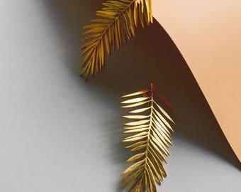 Palm Leaves Earrings | Dangle Earrings | Minimalist Jewelry | Gold Plated Silver Earrings | Dainty Earrings | Botanical Jewelry | Ear Cuff