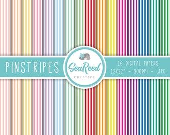 Candy Stripe Digital Paper, Pinstripe Digital Paper, Horizontal Stripes, Pastel Stripes, Striped Paper, Printable Paper, Instant Download