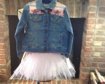 Girls  4T New Carter's Denim Jacket Embellished With Pink Native American Inspired Pendleton Wool With Tutu!