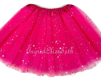 Hot Pink 4-Layer Tutu, Sparkle Tutu, Pink Toddler Tutu, Hot Pink Ballet Tutu, Pink Sparkle Tutu, Hot Pink Girls Tutu, Hot Pink Dance Tutu