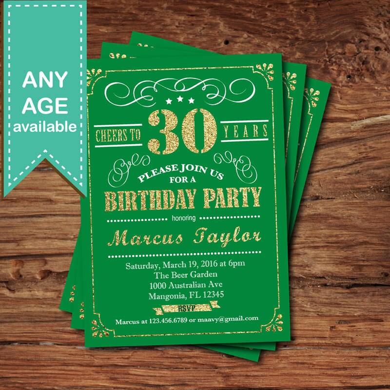30th birthday invitation. St Patrick\'s day birthday party.