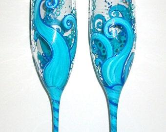 Ocean Blue Waves Hand Painted Champagne Flutes 2-6 oz. Toasting Flutes Aqua Blue Wedding Glasses Ocean Wedding Beach Wedding Personalization