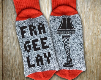 """New Holiday Socks """"Fra-Gee-Lay"""" Unisex Thermal Crew Socks for Christmas, Ugly Sweater Party, Christmas Story Fans, Leg Lamp Enthusiasts"""