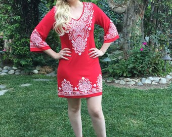 Womens Dresses Sale, Red Dress, Tunic Dress, Ethnic Dress, Western Dress, Red with White, XXS XS S M, V Neck, 3/4 Bell Sleeve