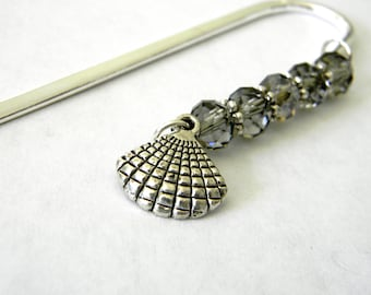 Shell Bookmark with Smoky Quartz Glass Beads Shepherd Hook Silver Color Steel Bookmark