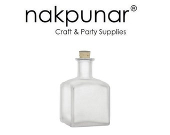 Nakpunar Square Frosted Glass Bottle, 7 Oz. w/ Cork, Glass Stopper or T-Bar Closure