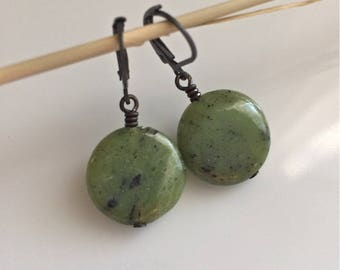 Green Jade Earrings   Light Green Stone Earrings   Boho Earrings