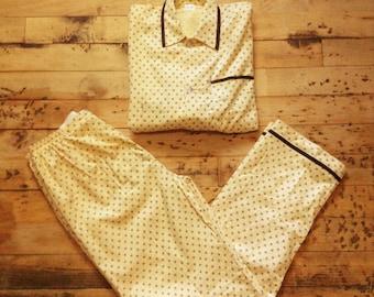 French 1960s Vintage Retro Men Nighwear Winter Pajamas - Warm Flannel - Made in France - New - XL