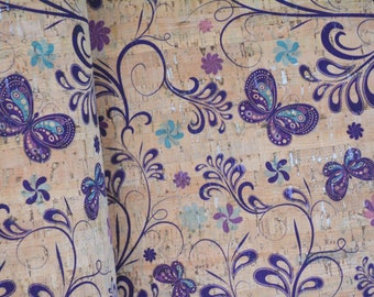 Butterfly Fantasy Print Cork fabric (U.S.A Supplier) - Made in Portugal - Vegan - Sustainable - Leather Alternative - P.E.T.A. approved