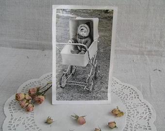 Antique Soviet Child Photo, Vintage Girls Photo, Baby in a Stroller, Snapshot Photo, Little Girl USSR 50s, Old Babies Photo, Vintage Photo