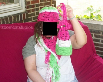 Watermelon Hat, Scarf, and Drawstring bag