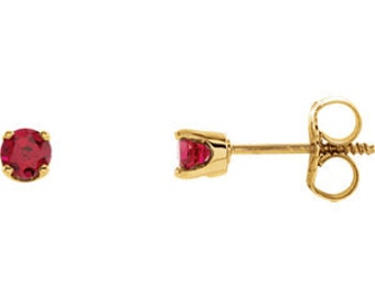 14kt Gold Ruby Birthstone Earrings, July Birthstone Studs, Chatham Ruby Studs