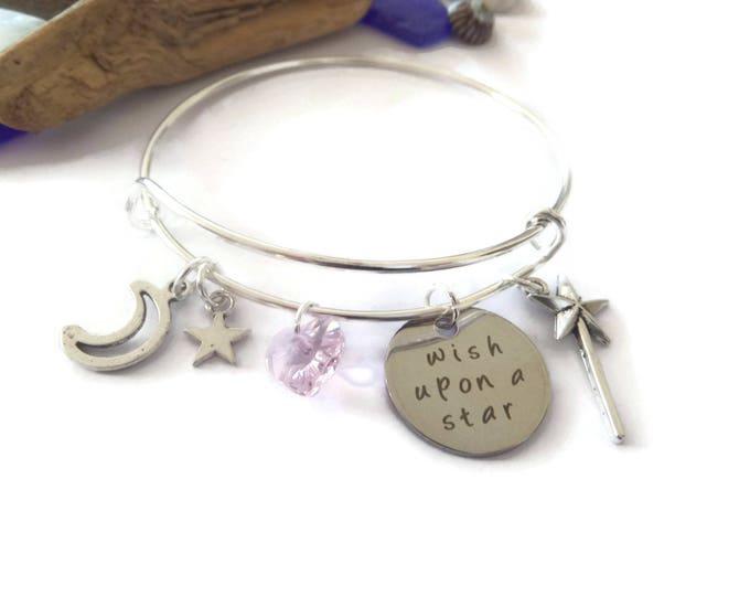 princess gift, princess party, princess bracelet, pinocchio bangle, princess bangle, princess jewelery, wish upon a star, fairy gift,