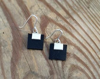 Silver dangle earrings, short earrings, black leather earrings, square earrings, charm earrings, hypoallergenic earrings, lightweight.