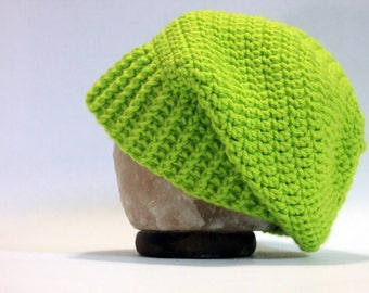Hand Crocheted Slouch Beanie - Lime Green