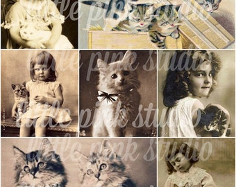 Girls and their Kitties,   Printable Collage Sheet (digital download, printable)