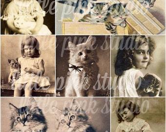 Girls and their Kitties,   Printable Collage Sheet (digital download, printable)