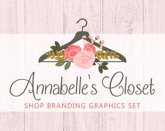Floral Clothes Hanger Shop Branding Cover Photo Banners, Icons, Business Card, Logo Label + More - 13 Premade Graphics - ANNABELLE'S CLOSET
