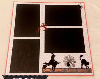 Happy Halloween 12 x 12 Premade Scrapbook Page, Orange Black & White, Boo Scary Cat Spiders Web
