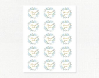 Favor Tags Labels - Instant Download - Korean First Birthday - Hydrangeas on Ombre
