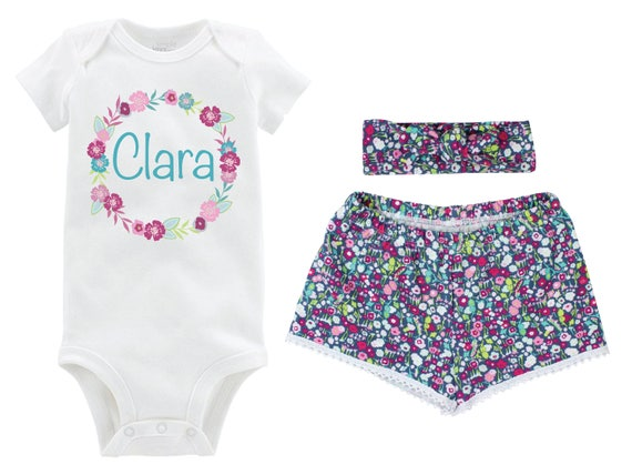 Personalized Girl Outfit Going Home Outfit Shorts Outfit Girl Summer Outfit Purple Floral Outfit Knot Headband Outfit Beach Baby Shower Gift