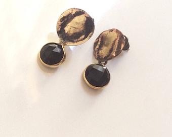 Black onyx earrings/ Handmade brass earrings/ Genuine gemstone earrings/ OOAK earrings/ Oxidised earrings/ Modern earrings/ Small earrings