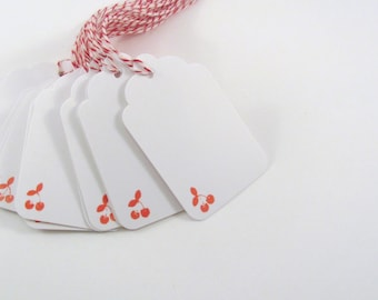 Red Cherry Stamped White Gift Tags with Red and White Bakers Twine Mason Jar Tag Cherry Dessert Tag Bellini Wedding Tag