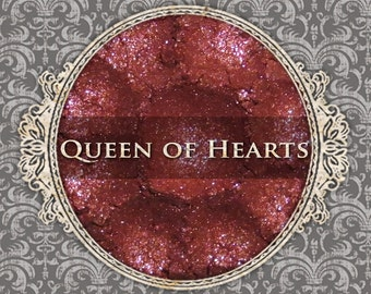 QUEEN OF HEARTS Sparkle Eyeshadow: Samples or Jars, Ruby Red w/Pink Sparkle, Loose Powder Eyeshadow, Vegan Makeup, Ships Out in 5-8 Days