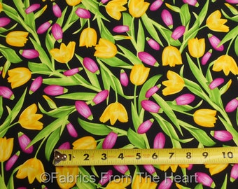 Tulips in Red Pink Garden Bloom w view on Black BY YARDS Benartex Cotton Fabric