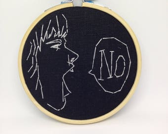 "Wall Art Modern Embroidery Indie Decor 4"" Hoop ""NO."""