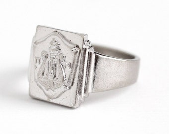 Sale - Vintage Lyre Ring - Retro 1950s Sterling Silver Pi Mu Music Society Signet - Size 4 3/4 Shield Π M Musical Artist Robbins Co Jewelry