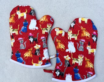 Cats with Hats Medium Oven Mitts