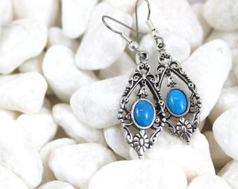 Vintage style blue howlite drop earrings, earrings, jewelry, women's earrings, gift for her, silver