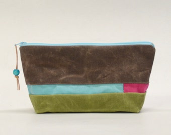 Multicolor Patchwark Waxed Canvas Zipper Pouch #4 Gadget Case Cosmetics Bag - READY TO SHIP