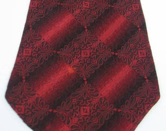30s Vintage Neck Tie Red Black Brocade Spanish Rococo