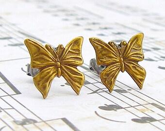 Butterfly - antique brass post earrings