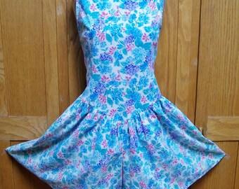 70s Romper, 70s floral romper, sleeveless romper, 70s blue romper, size S / M