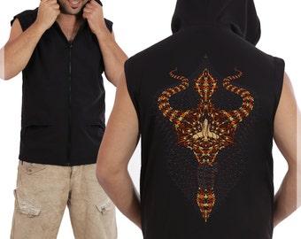 SALE 25% OFF Mens Vest With Hood In Black Or Dark Blue, Hood Vest, Psychedelic Vest, Burning Man, Festival Clothing, Hoo