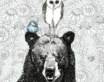 Bear Owl and Bird Illustration - Three's A Crowd