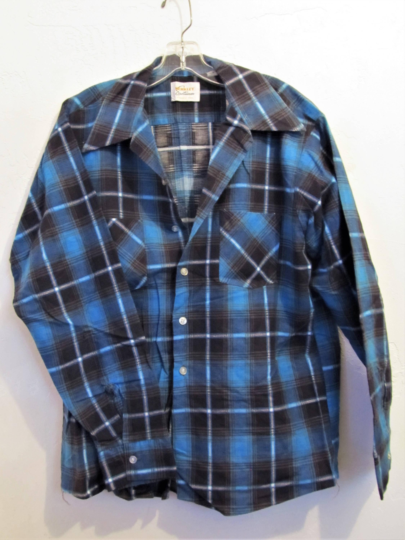 A Men's,Cool Vintage 70's,Blue Plaid HiPPiE er FLANNEL Shirt By SAIL For SEARS.xl