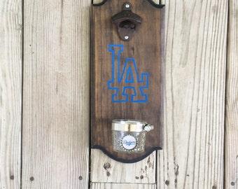 LA Dodgers Rustic Wall-mounted Bottle Opener