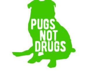 Pugs not Drugs laptop Decal