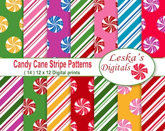 Candy Cane Digital Paper, Candy Cane Stripes Paper Pack, Christmas Holidays, Pattern Prints,Backgrounds Scrapbook Print Christmas paper pack