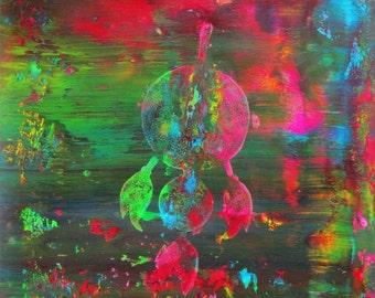 Spirit Dream Catcher Original Abstract Acrylic Painting in White Mat