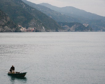 Fishing in Monterosso Italy Photography Print - scenic photo, lake photo, foggy landscape, mountain art, mountain photography, peaceful art